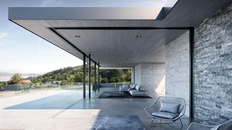 Terrasse mit Senkfenstern der Marke air-lux, hier vollständig in den Boden eingelassen.