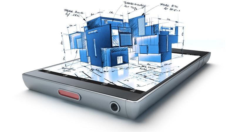 3-D-Gebäudemodell, das einem Tablet-PC entspringt.