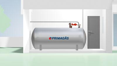 Vereinfachte Darstellung eines PRIMAGAS Flüssiggas-Tanks in einem geschlossenen Raum.