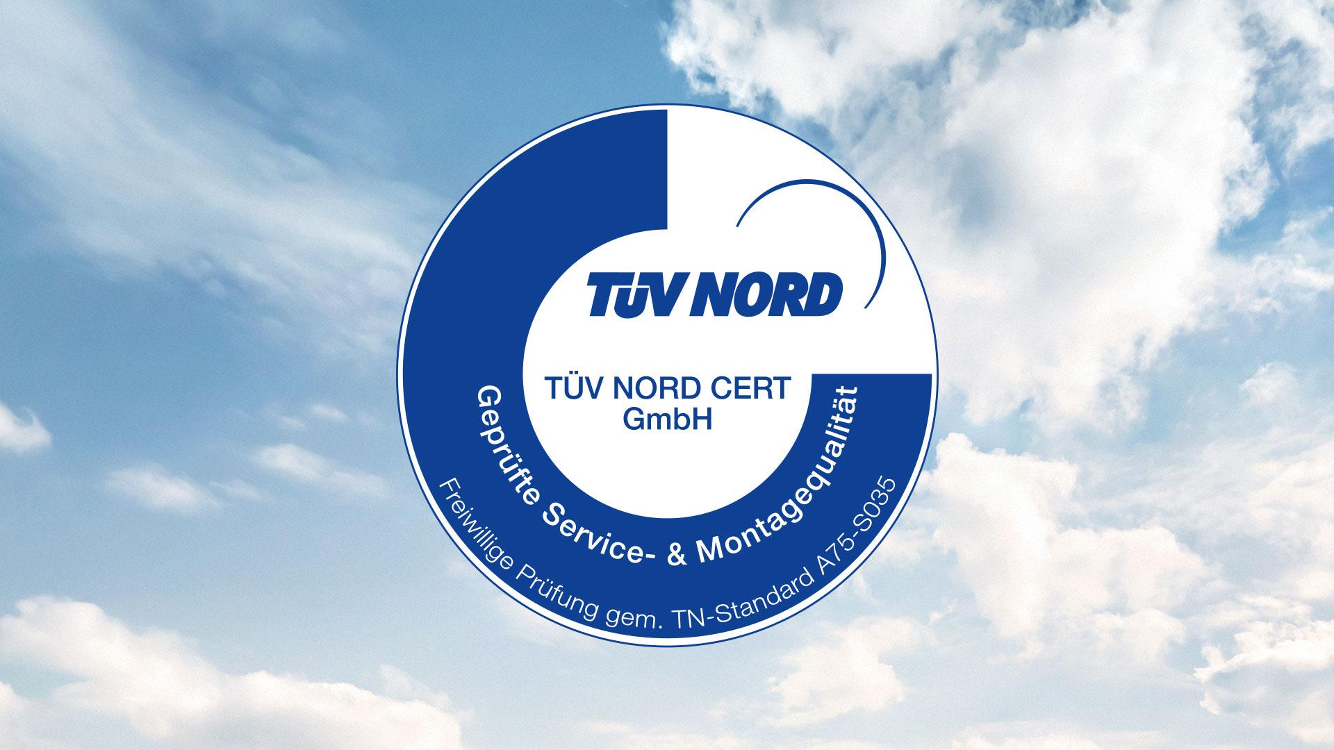 """Siegel der TÜV NORD CERT GmbH: """"Geprüfte Service- und Montagequalität"""" für PRIMAGAS."""