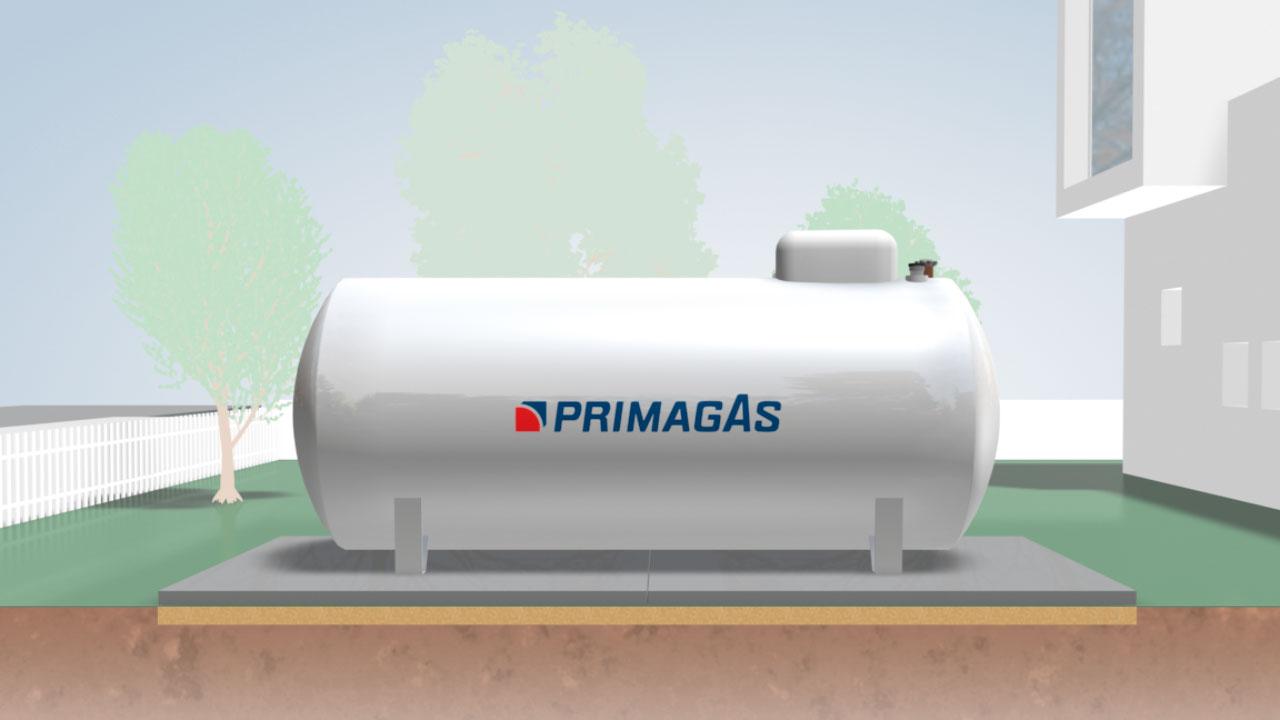 Vereinfachte Darstellung eines oberirdischen PRIMAGAS Flüssiggas-Tanks.