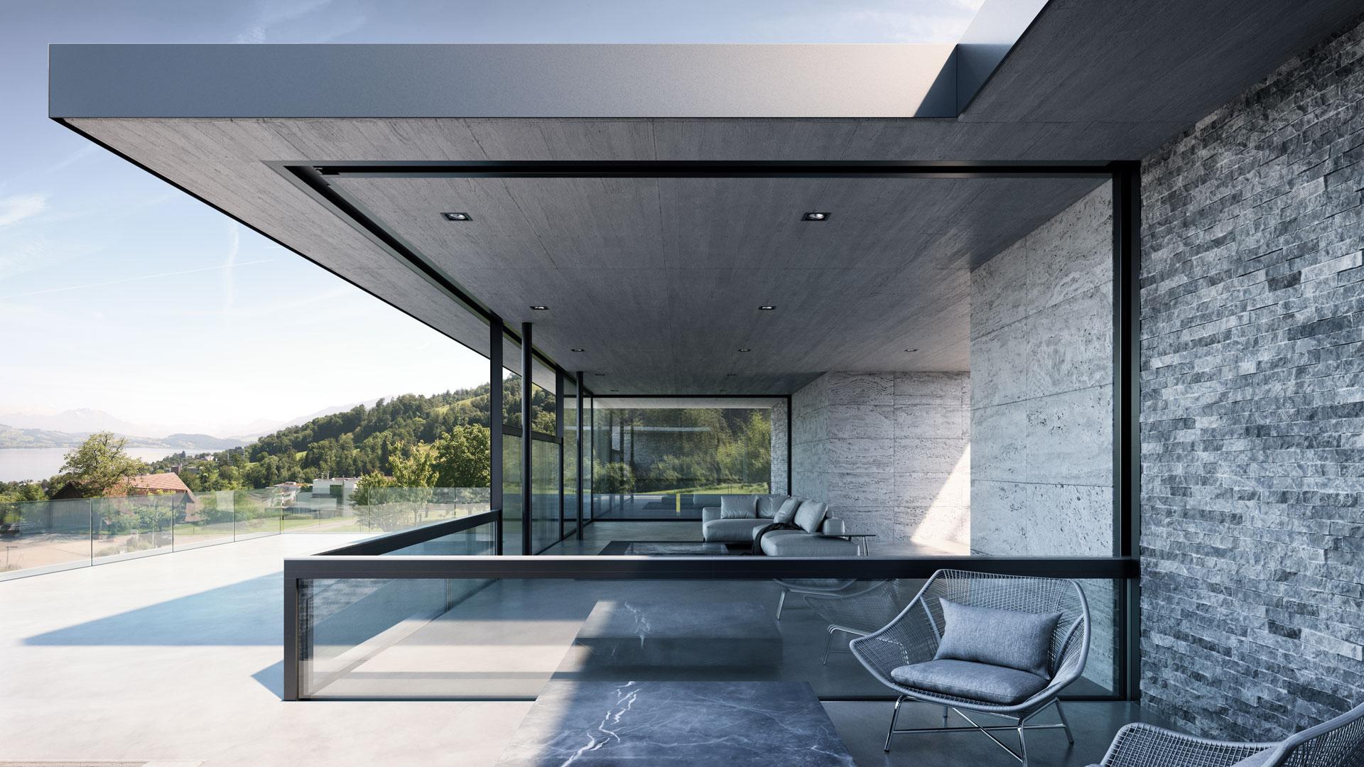 Terrasse mit Senkfenstern der Marke air-lux, hier teilweise geschlossen.