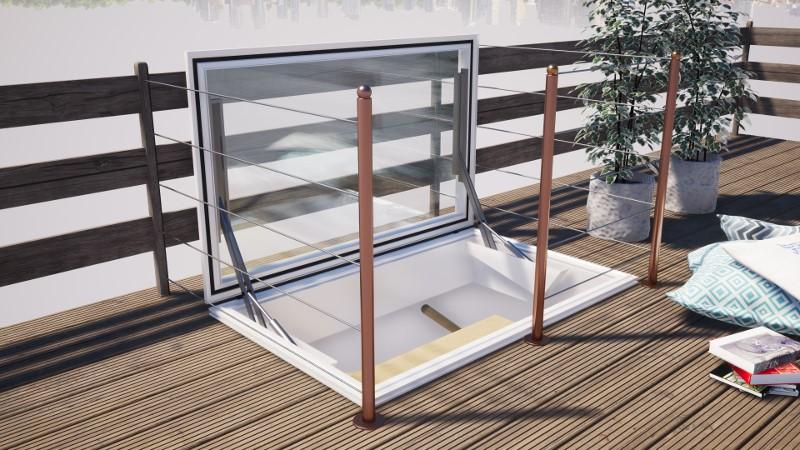 Dachausstieg auf einem Flachdach für mehr Tageslicht im Haus.
