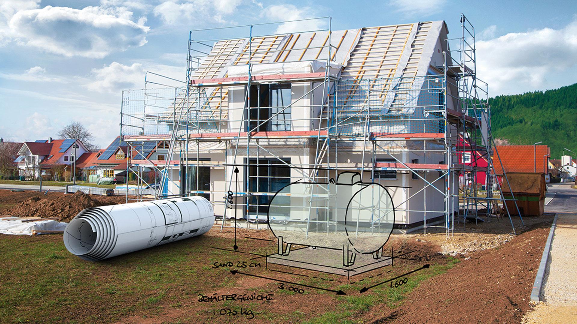 Planungsskizze eines Flüssiggasbehälters im Vorgarten eines Neubaus