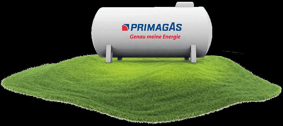 Modell eines weißen Flüssiggas-Tanks mit PRIMAGAS Logo auf Wiese.