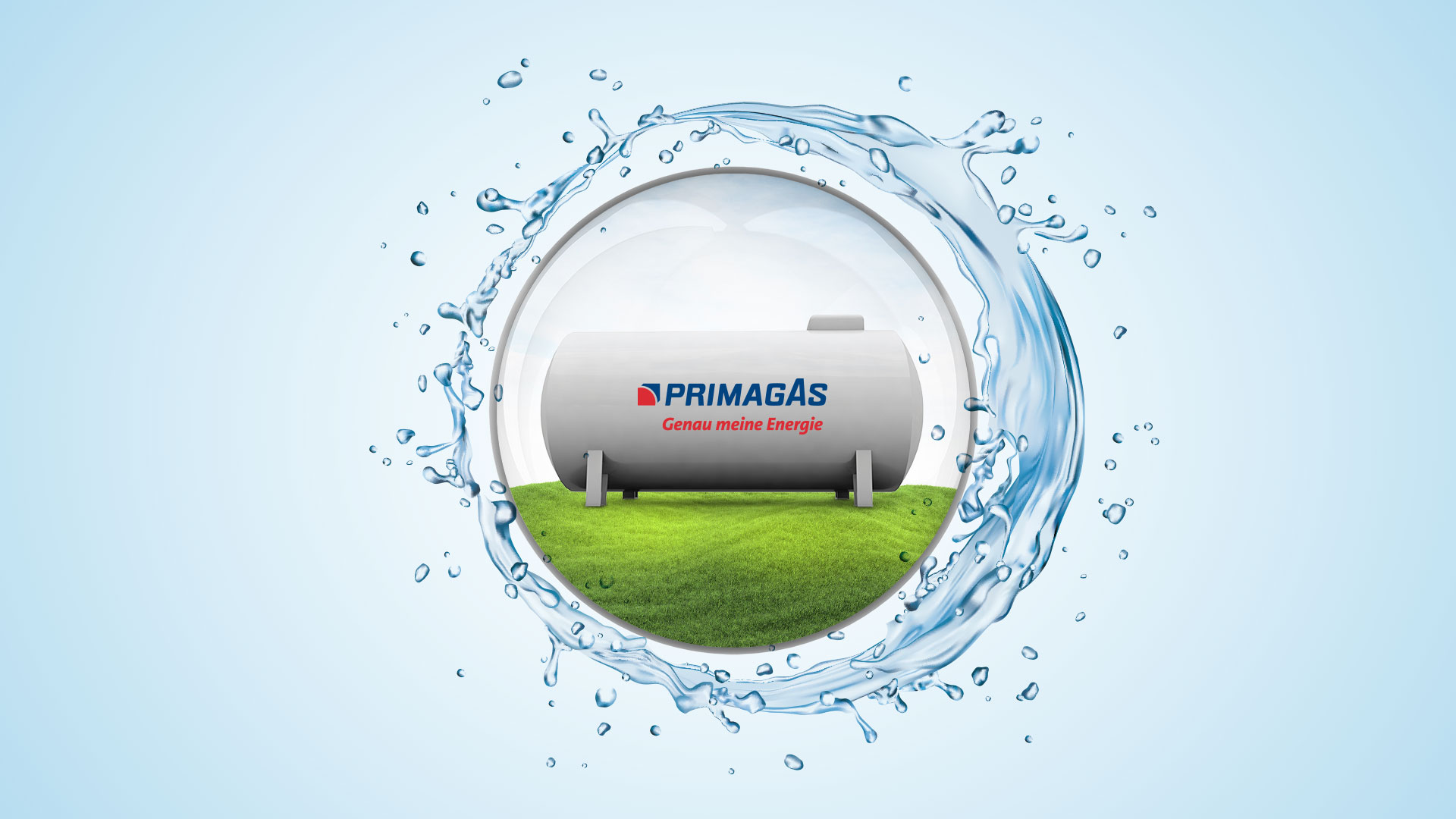 PRIMAGAS Tank auf Rasen in stilisierter Kugel, umhüllt von Wassergischt.