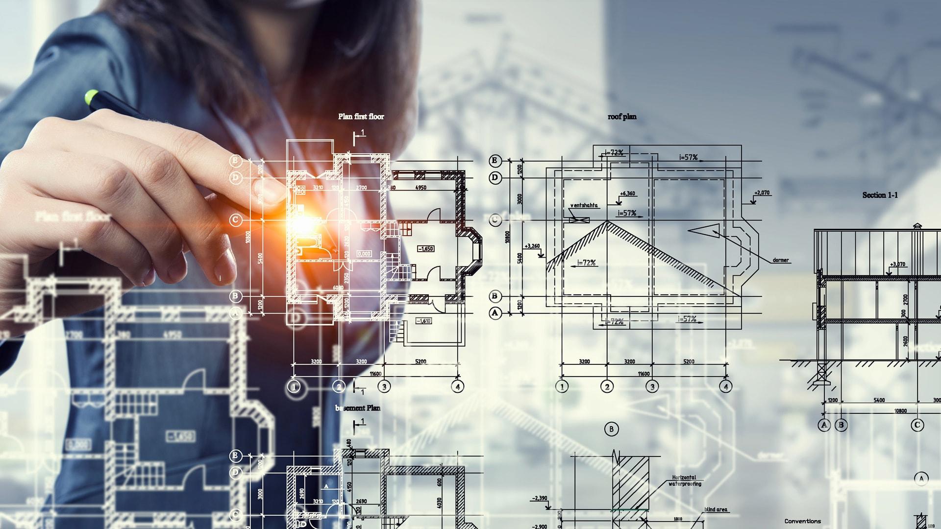 Frau interagiert mit Holografie einer Gebäudezeichnung.